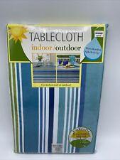 Indoor Outdoor Umbrella Tablecloth Capri Stripe Oblong 60 X 84 with Zipper Blue