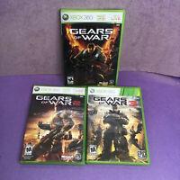 GEARS OF WAR 1, 2, 3  Xbox 360 Lot of 3 Bundle