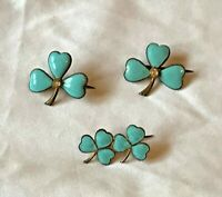Vintage Blue Enamel & Gold Tone Shamrock Pin Lapel Brooch Set  (D6G1)