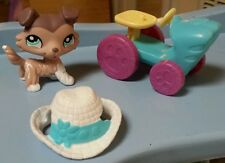 Littlest Pet Shop Tan Brown White Collie With Hat # 1330 Tractor