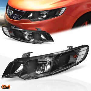 For 10-13 KIA Forte Headlight/Lamp Replacement Black Housing Clear Side Corner