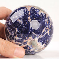 454g 72mm Large Natural Blue Sodalite Crystal Sphere Healing Ball Chakra