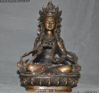 "8"" Old Tibet Buddhism Bronze Vajrasattva Kwan Yin Guanyin buddha statue"