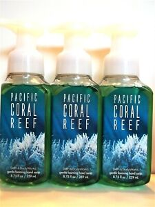 Bath Body Works PACIFIC CORAL REEF Gentle Foaming Hand Soap, NEW, x 3