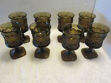 Set 8 Noritake Spotlight walnut brown 8 oz. footed ice tea water tumbler goblet