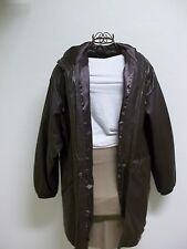 Jacqueline Ferrar Women's  Brown Leather Coat With Hood Size Large