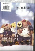 "UNCUT Butterick Pattern 13"" Honey Bears Luv n stuff OOP Vintage 4755 Teddy FF"