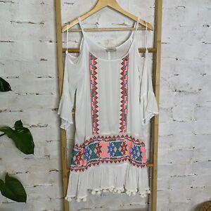Papaya Size 10 S Embroidered Folk Art Dress Pom Pom White Cold Shoulder Boho