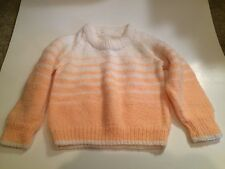 Vintage Handmade 18 24 White Peach Pink sweater. Stripe