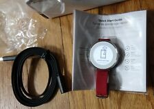 Pebble 38mm Silver case Round Red Leather 14mm Band Android iOS Smartwatch