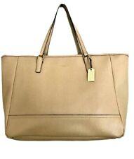 Coach Beige Leather East West Saffiano Zip Top Tote Shoulder Handbag Purse