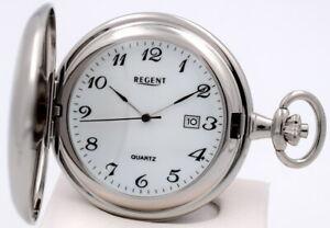 Regent Chrom Quartz Taschenuhr mit Datum P322 NEU! UVP* 54,90 EUR!