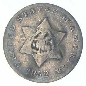 RARE Silver Trime 1852 Three Cent Silver 3 Cent Early US Coin Look it up! *017