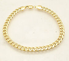 "6mm 8.5"" Mens Semi Solid Royal Miami Cuban Curb Bracelet Real 14K Yellow Gold"
