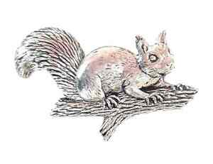 Squirrel Handcrafted in Solid Pewter In UK Lapel Pin Badge