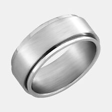 Stainless Steel Wedding Band Ring with Brushed Finish Spinner Size 12