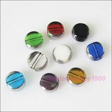 60Pcs mixte argent edge verre plat rond espaceur perles charms 6mm
