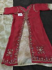 Pakistani  Indian Formal Girls Dress Red Color 3 Pieces Stitched Embroidered