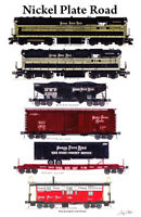 "Nickel Plate Road Freight Train 11""x17"" Railroad Poster by Andy Fletcher signed"