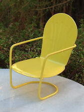 Miniature Dollhouse FAIRY GARDEN Furniture ~ Yellow Metal Glider Chair ~ NEW