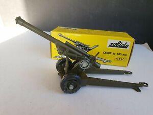 """SOLIDO CANNON DE 105 mm  """"  105 C  """" EARLY ORIGINAL BOX # 205"""
