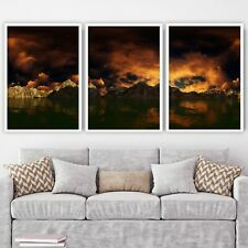 More details for abstract set of 3 orange yellow gold mountains sunset wall art print picture
