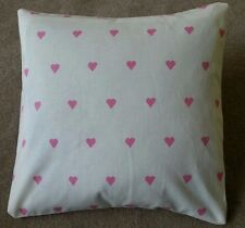 Shabby Chic Harlequin Love Heart pink cushion covers 16x16 inch cream cotton