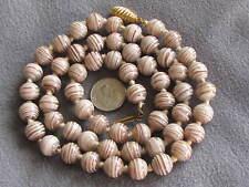"26 "" Vintage Venetian Aventurine Sommerso Swirls White Glass Bead Necklace"