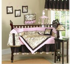 Baby Girls Pink Brown And Green Newborn Crib Set Gorgeous Elegant Pre Owned