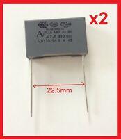 2 condensateurs MKP X2 220-230V 0,47µF 0.47µF 470nF 474K 474 K 275Vac 22,5mm