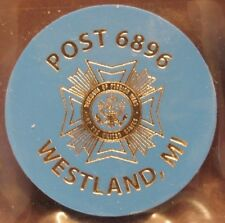 Vintage VFW Post #6896 Westland, MI Blue Plastic Trade Token - Michigan