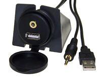 Auto USB Einbau Buchse 3,5mm Klinke Stecker KFZ Verlängerung AUX In Adapter