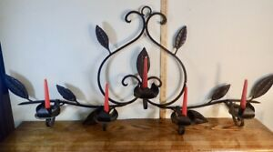 Heavy Wrought Iron Mantle Candle Holder Fireplace Candelabra Scrollwork 51 x 22