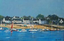 Bretagne. Maisons de pêcheurs sur la Ria d'Etel. Peinture signée ROY