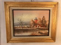 """Oil On Canvas Painting Dusk In Country Signed """"Jacier""""23""""x18"""".C12pix. MAKE OFFER"""