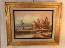 """Painting Oil On Canvas Dusk In Country Signed """"Jacier""""23""""x18"""".C12pix. MAKE OFFER"""