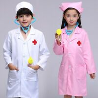 New Kids Doctor&Nurse Set Boys Girls Medical Staff Cosplay Clothes Gown With Hat