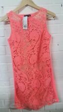 Warehouse Women's Guipure Lace Front Shift Dress in Pink UK 8