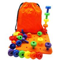 Montessori Stacker Pegs Pegboard Set 30Pcs Sorting Pegboard Educational Toys