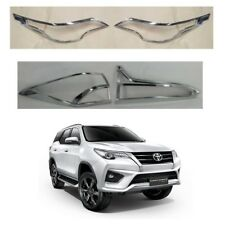 4 Chrome Headlight Taillight Cover Trim For 2015 2016 2017 2018 Toyota Fortuner