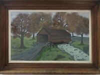 Original Painting Covered Bridge In Fall by Hans Weltin in Wooden Frame