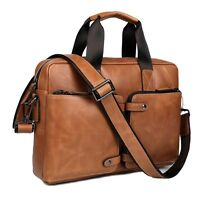 Men's Retro Cow Leather Messenger Shoulder Bag Cross Body Satchel Briefcase