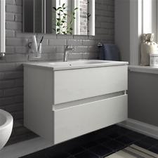 Mobile bagno sospeso 2 cassetti con lavabo in ceramica 100 cm bianco frassinato