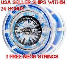 F.A.S.T. 201 Fast Yo Yo Blue YoYo YoYoFactory Plus 3 Neon Strings YELL/ORG/GRN