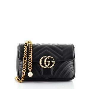 Gucci Pearly GG Marmont Flap Belt Bag Matelasse Leather