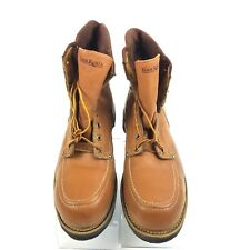 Foot Rests Vtg Tan Leather Steel-Toe Men Boots 10.5 D Lace up never worn