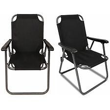 2 Black Outdoor Patio Folding Beach Chair Camping Chair Arm Lightweight Portable