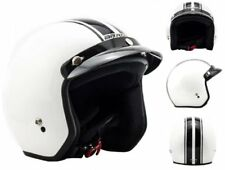 Arrow Av-47 White Pilot Casque Jet Cruiser Retro Mofa Bobber Demi-jet Biker VESP
