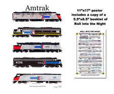 "Amtrak Retro Locomotives 11""x17"" Railroad Poster Andy Fletcher signed"