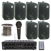 Pyle 2-Ch. Bluetooth Home Audio Amplifier, 5 Inch Speakers / Mic / 250 ft Wire